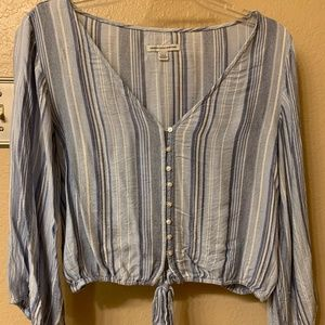 American Eagle Button Down Tie Front Top